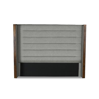 Hank Horizontal Channel Tufting Upholstered Wingback Headboard Color: Gray, Size: Mid Height Queen