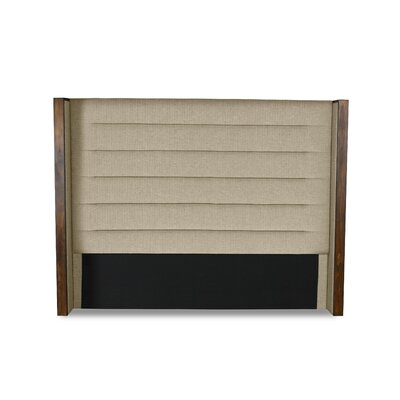 Hank Horizontal Channel Tufting Upholstered Wingback Headboard Color: Sand, Size: Mid Height Queen
