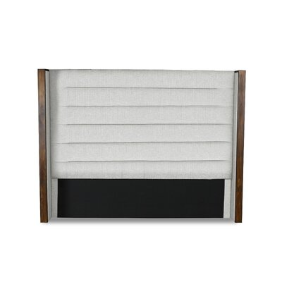 Hank Horizontal Channel Tufting Upholstered Wingback Headboard Color: White, Size: Mid Height Queen