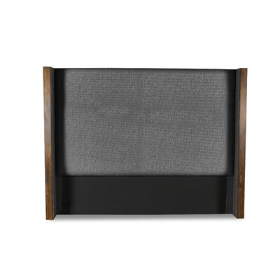 Hank Plain Upholstered Wingback Headboard Color: Charcoal, Size: High Height Queen
