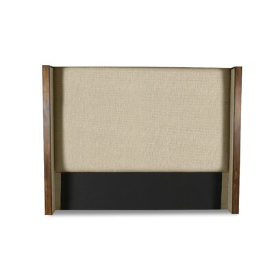 Hank Plain Upholstered Wingback Headboard Color: Sand, Size: Mid Height Queen