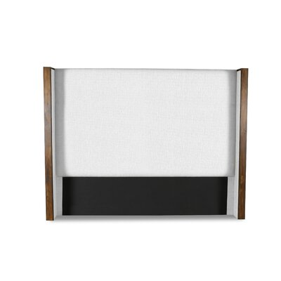 Hank Plain Upholstered Wingback Headboard Color: White, Size: Mid Height King