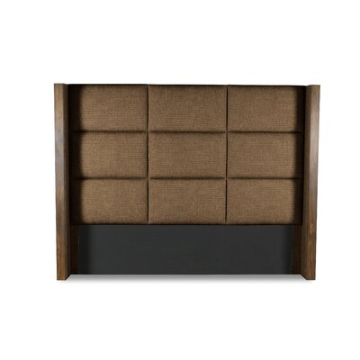 Hank Square Tufted Upholstered Wingback Headboard Color: Brown, Size: High Height Queen