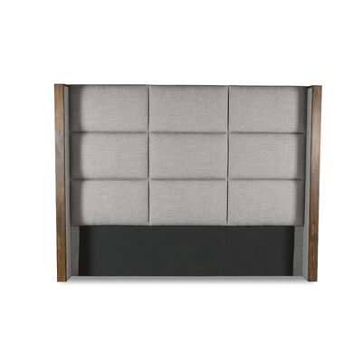 Hank Square Tufted Upholstered Wingback Headboard Color: Gray, Size: Mid Height Queen