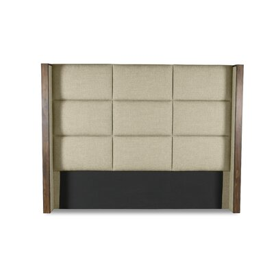Hank Square Tufted Upholstered Wingback Headboard Color: Sand, Size: Mid Height Queen