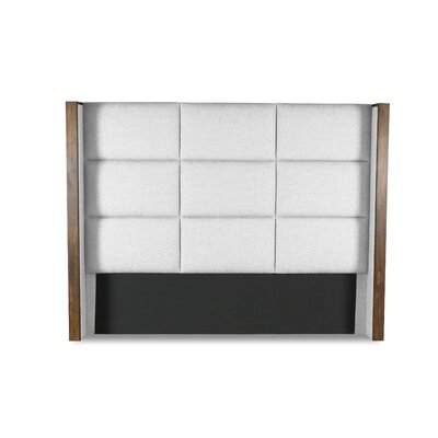 Hank Square Tufted Upholstered Wingback Headboard Color: White, Size: Mid Height King