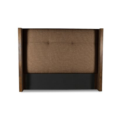 Hank Simple Tufted Upholstered Wingback Headboard Color: Brown, Size: Mid Height King