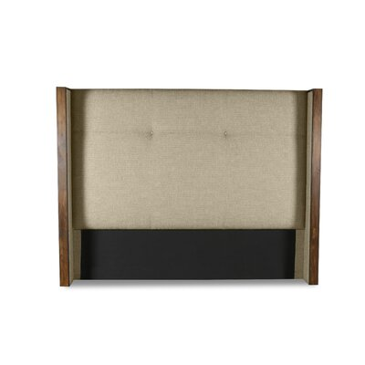 Hank Simple Tufted Upholstered Wingback Headboard Color: Sand, Size: Mid Height Queen
