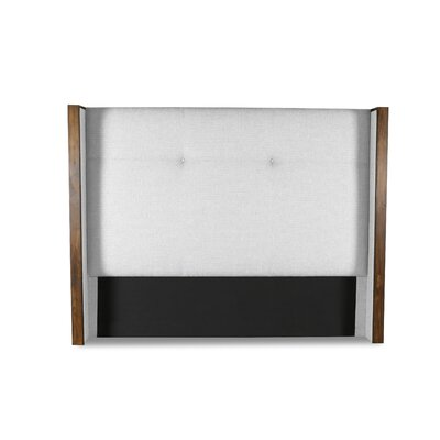 Hank Simple Tufted Upholstered Wingback Headboard Color: White, Size: Mid Height California King