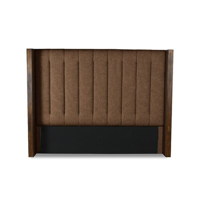 Hank Vertical Channel Tufting Upholstered Wingback Headboard Color: Brown, Size: High Height Queen