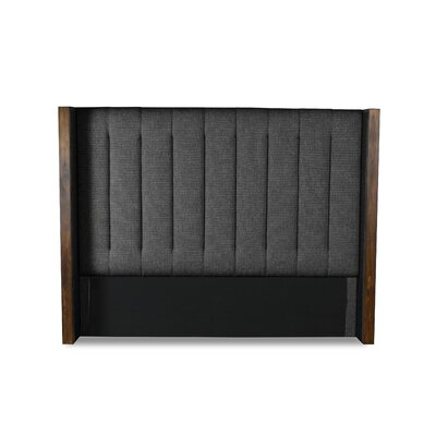 Hank Vertical Channel Tufting Upholstered Wingback Headboard Color: Charcoal, Size: High Height Queen