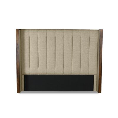 Hank Vertical Channel Tufting Upholstered Wingback Headboard Color: Sand, Size: Mid Height Queen