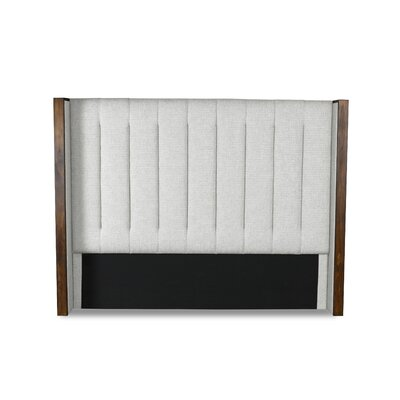 Hank Vertical Channel Tufting Upholstered Wingback Headboard Color: White, Size: Mid Height Queen