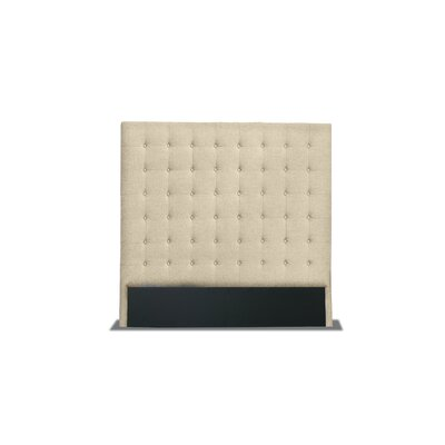 Hannover Box Tufting Upholstered Wingback Headboard Color: Sand, Size: High Height King