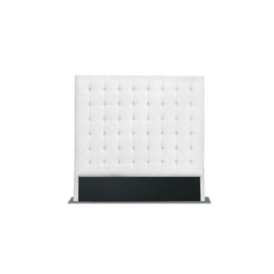 Hannover Box Tufting Upholstered Wingback Headboard Color: White, Size: High Height California King