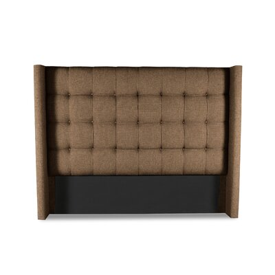 Hannover Winged Box Tufting Upholstered Wingback Headboard Color: Brown, Size: High Height California King