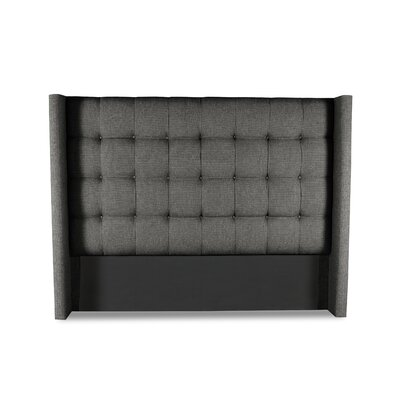 Hannover Winged Box Tufting Upholstered Wingback Headboard Color: Charcoal, Size: Mid Height California King