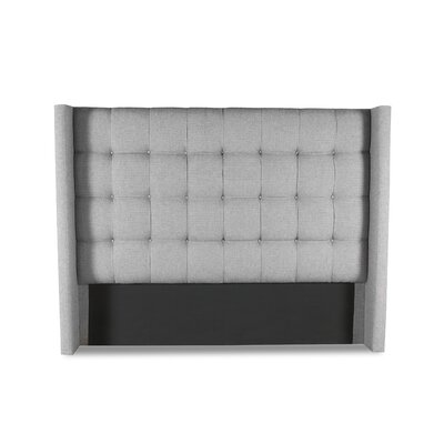 Hannover Winged Box Tufting Upholstered Wingback Headboard Color: Gray, Size: High Height California King