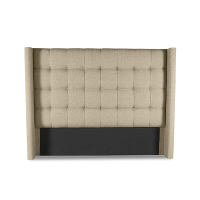 Hannover Winged Box Tufting Upholstered Wingback Headboard Color: Sand, Size: High Height Queen