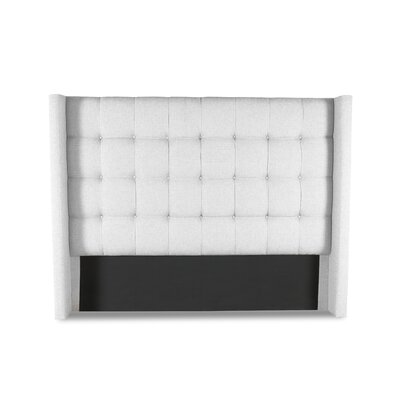 Hannover Winged Box Tufting Upholstered Wingback Headboard Color: White, Size: High Height King
