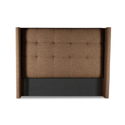 Hansen Button Tufted Upholstered Wingback Headboard Color: Brown, Size: Mid Height Queen