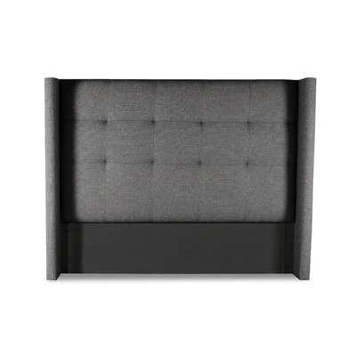 Hansen Button Tufted Upholstered Wingback Headboard Color: Charcoal, Size: Mid Height Queen