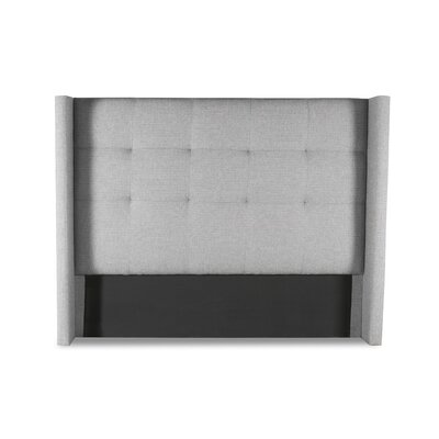 Hansen Button Tufted Upholstered Wingback Headboard Color: Gray, Size: Mid Height King