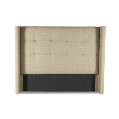 Hansen Button Tufted Upholstered Wingback Headboard Color: Sand, Size: Mid Height Queen