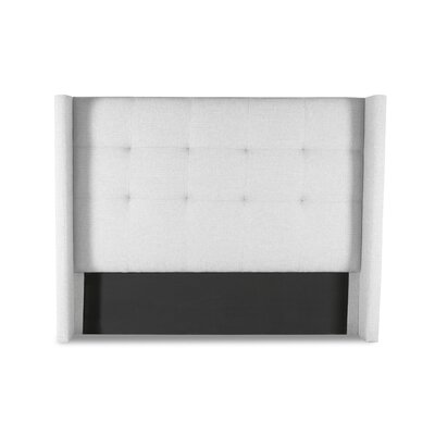 Hansen Button Tufted Upholstered Wingback Headboard Color: White, Size: Mid Height Queen