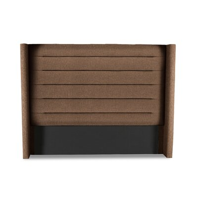 Hansen Horizontal Channel Tufting Upholstered Wingback Headboard Color: Brown, Size: High Height King