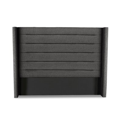 Hansen Horizontal Channel Tufting Upholstered Wingback Headboard Color: Charcoal, Size: Mid Height King
