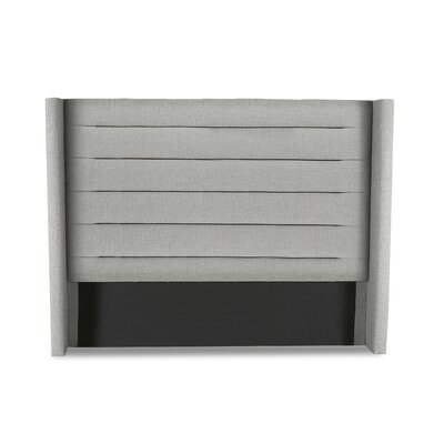 Hansen Horizontal Channel Tufting Upholstered Wingback Headboard Color: Gray, Size: Mid Height Queen