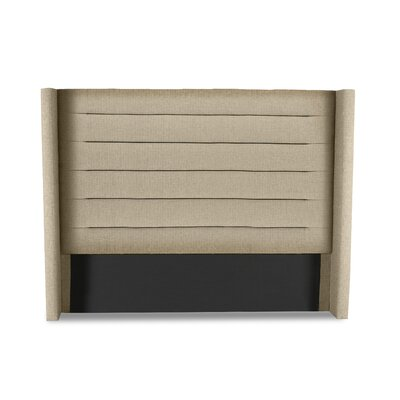 Hansen Horizontal Channel Tufting Upholstered Wingback Headboard Color: Sand, Size: High Height Queen