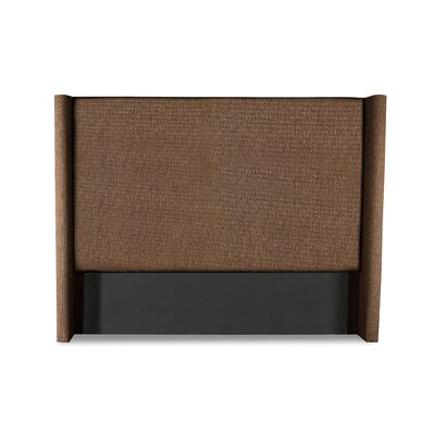 Hansen Plain Upholstered Wingback Headboard Color: Brown, Size: High Height California King