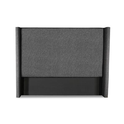 Hansen Plain Upholstered Wingback Headboard Color: Charcoal, Size: High Height Queen