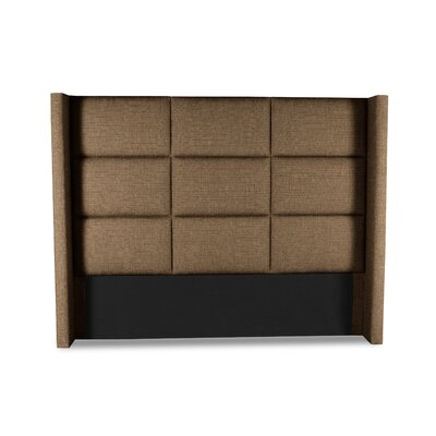 Hansen Square Tufted Upholstered Wingback Headboard Color: Brown, Size: High Height King