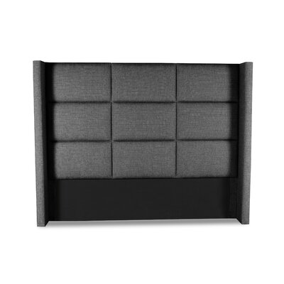 Hansen Square Tufted Upholstered Wingback Headboard Color: Charcoal, Size: Mid Height Queen