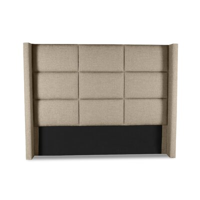 Hansen Square Tufted Upholstered Wingback Headboard Color: Sand, Size: Mid Height Queen