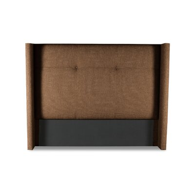Hansen Simple Tufted Upholstered Wingback Headboard Color: Brown, Size: Mid Height King