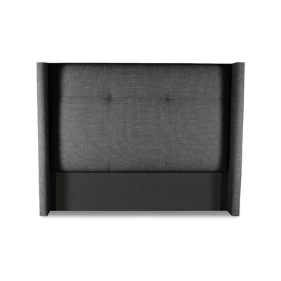 Hansen Simple Tufted Upholstered Wingback Headboard Color: Charcoal, Size: Mid Height Queen