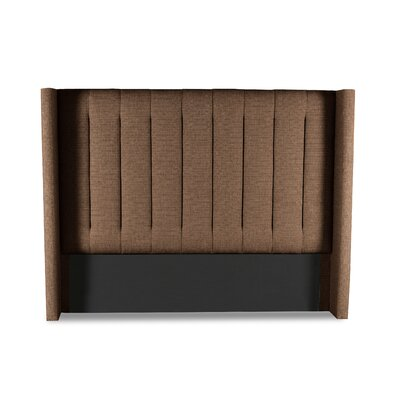 Hansen Vertical Channel Tufting Upholstered Wingback Headboard Color: Brown, Size: Mid Height California King