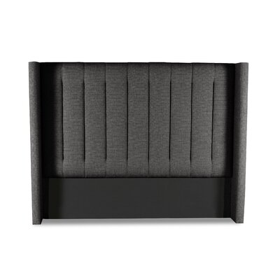 Hansen Vertical Channel Tufting Upholstered Wingback Headboard Color: Charcoal, Size: High Height Queen