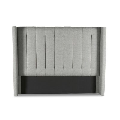 Hansen Vertical Channel Tufting Upholstered Wingback Headboard Color: Gray, Size: Mid Height Queen