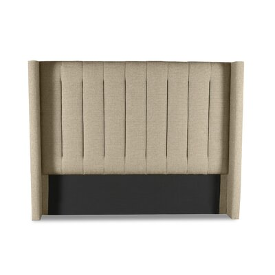 Hansen Vertical Channel Tufting Upholstered Wingback Headboard Color: Sand, Size: Mid Height Queen