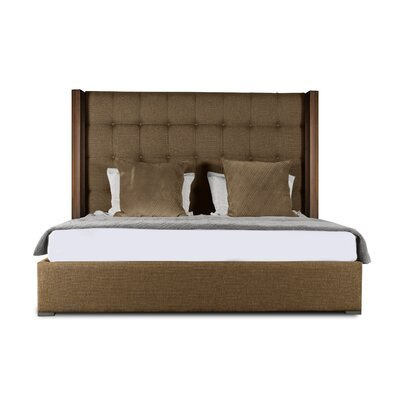 Harborcreek Upholstered Panel Bed Color: Brown, Size: Mid Height Queen