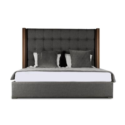 Harborcreek Upholstered Panel Bed Color: Charcoal, Size: High Height California King