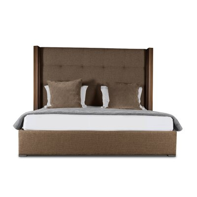 Harborcreek Button Tufted Upholstered Panel Bed Color: Brown, Size: High Height California King