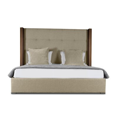 Harborcreek Button Tufted Upholstered Platform Bed Color: Sand, Size: High Height Queen