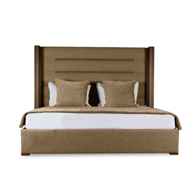 Harborcreek Horizontal Channel Tufted Upholstered Panel Bed Color: Brown, Size: High Height King
