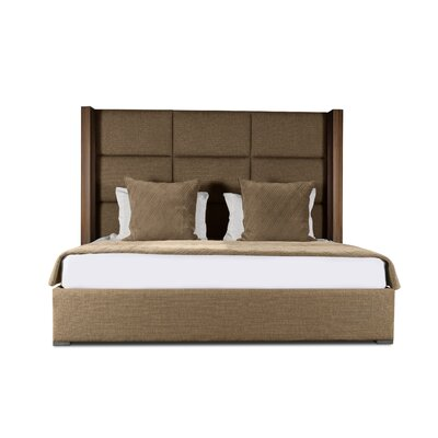 Harborcreek Upholstered Platform Bed Color: Brown, Size: High Height Queen